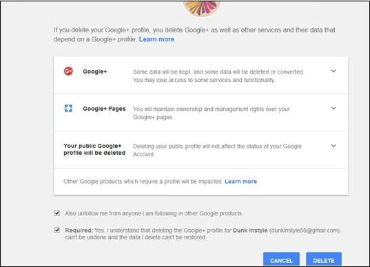 how to delete google plus photos