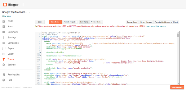 單擊編輯HTML
