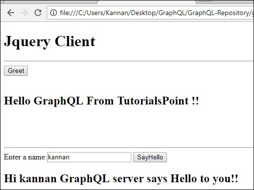 Browser Output of jQuery Integration