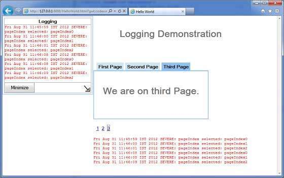 GWT Popup Logging Demo