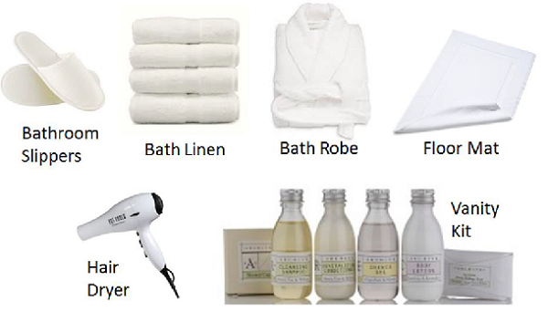 Hotel housekeeping guest supplies for Bathroom cleaning supplies list