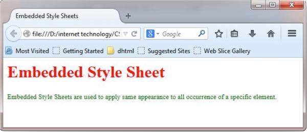 Embedded Style Sheet