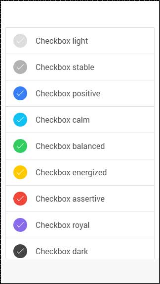 Ionic checkbox Color