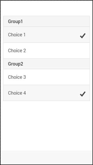 Ionic Radio Button Groups