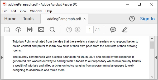 iText - Adding a Paragraph - Tutorialspoint