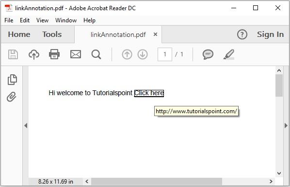iText Link Annotation