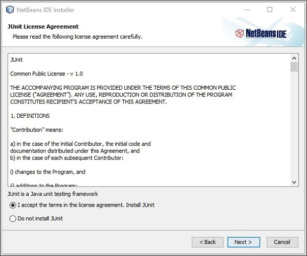 Accept Junit License Agreement