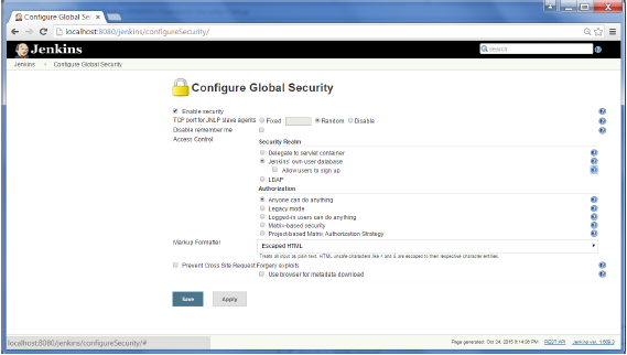Enable Security Option