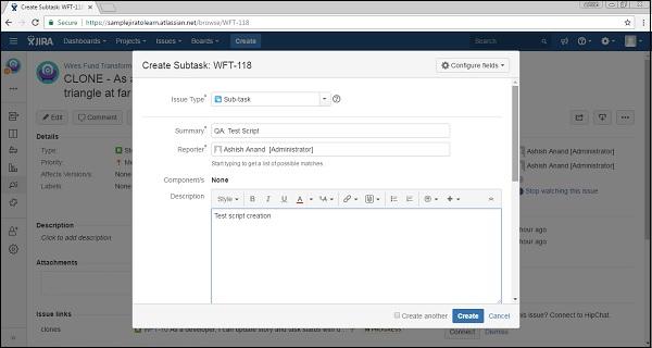 Create Subtask Form