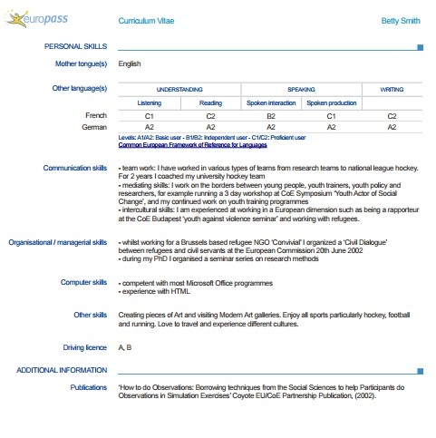 europass europass 1 - Skills For A Job Resume
