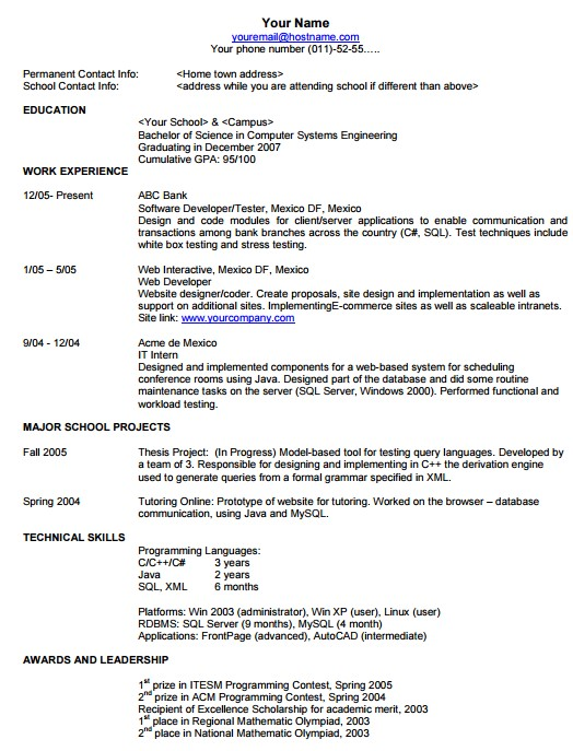 job search skills - format of resume
