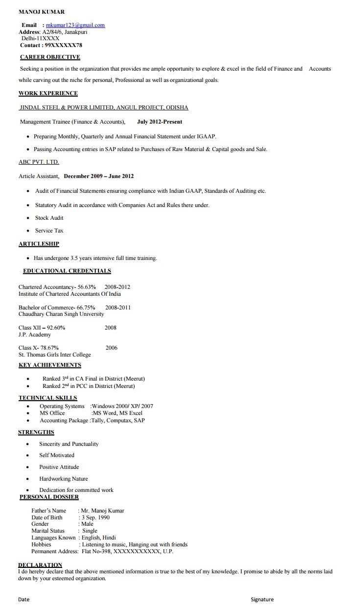 resume format in india - Proper Format Of A Resume