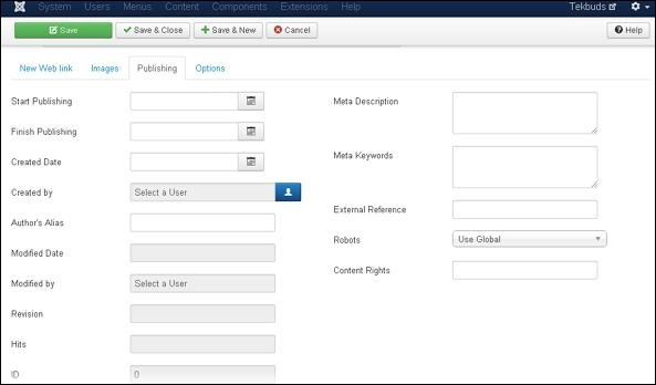 Joomla Adding Weblinks