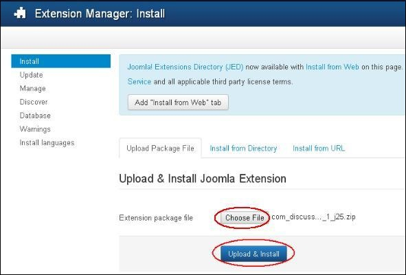 Joomla Extensions Manager