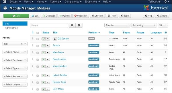 joomla Extension Menu