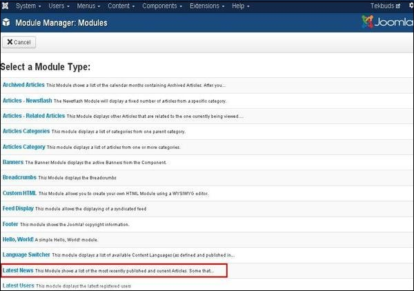 Joomla Latest News Module