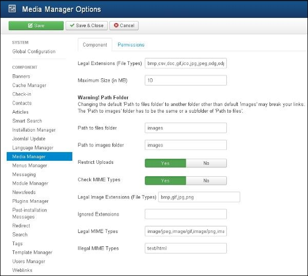 Joomla Media Settings