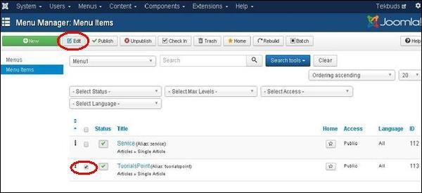 joomla Modify Menu Items