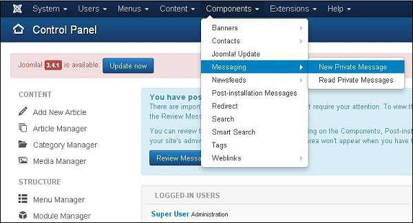 Joomla Private Messages