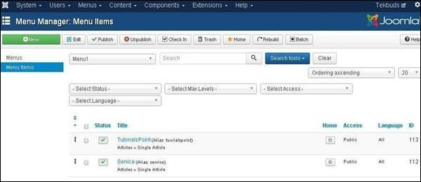 joomla Creating Submenus
