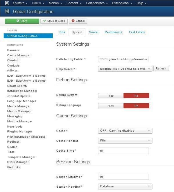 Joomla System Settings