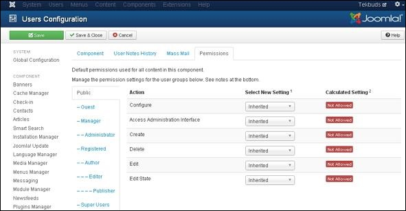 Joomla User Settings