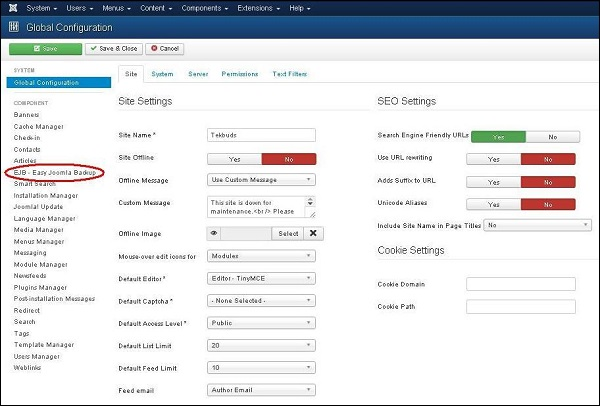 Joomla Website Backup