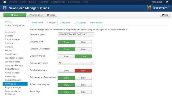 Joomla Adding News Feed