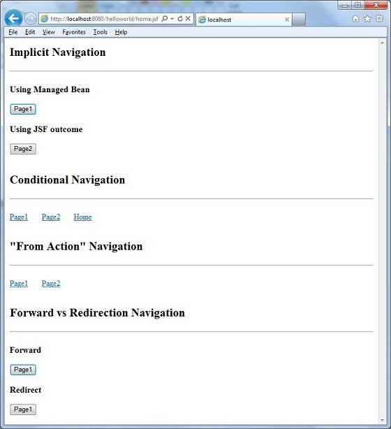 Jsf page navigation.