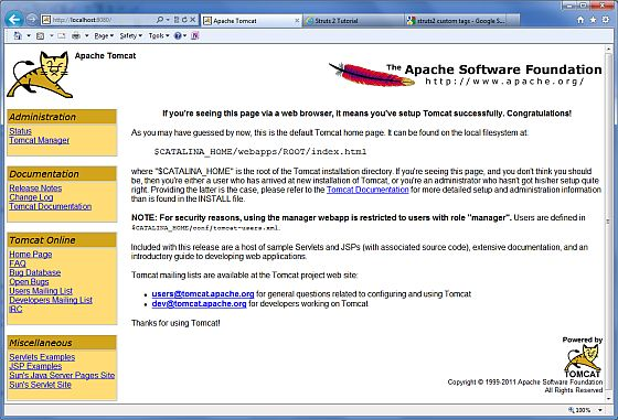 Tomcat Home page