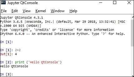 Jupyter QtConsole - Getting Started - Tutorialspoint