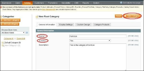 Magento Setup Categories
