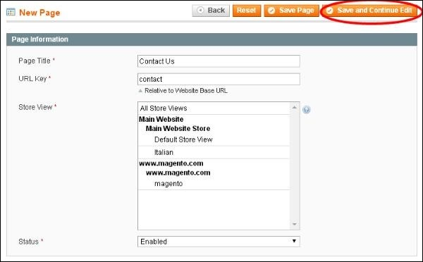 Magento Setup New Pages