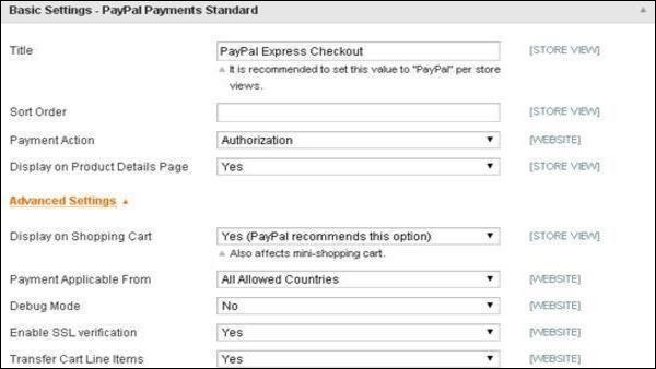 Magento Setup Paypal Payment