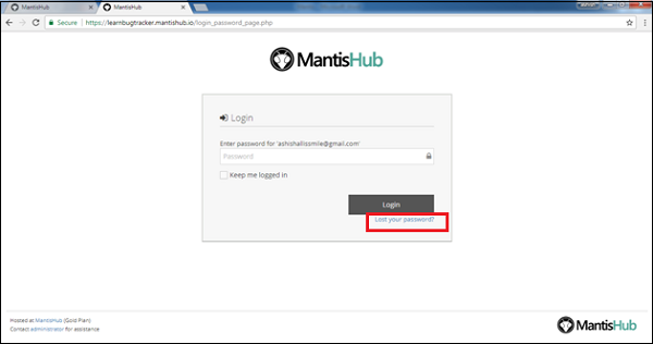 Click Lost Password
