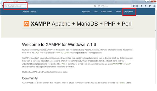 Dashboard of XAMPP