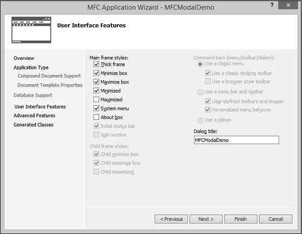MFCModalDemo Application Options