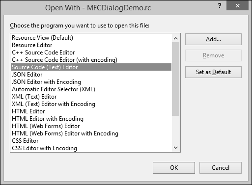 Open With MFCDialogDemo File