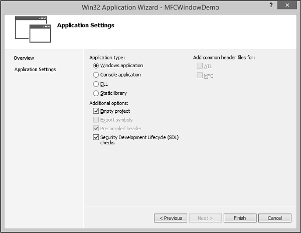 Win32 Application Setting