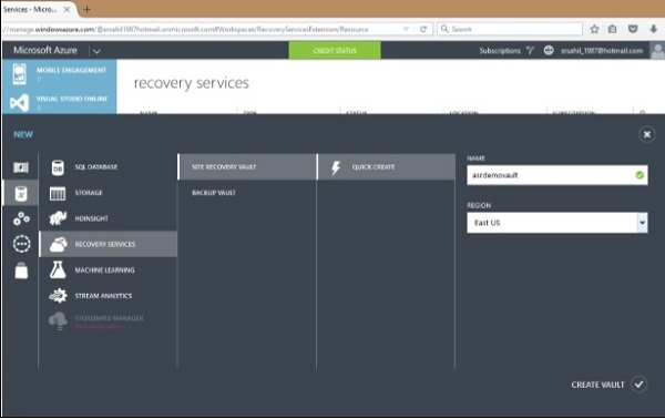Create a Site Recovery Vault