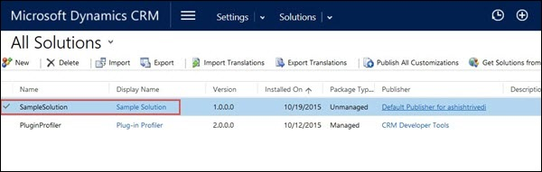 Mscrm Export Solution Step 1