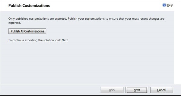 Mscrm Export Solution Step 2