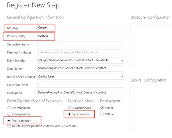Mscrm Plugin Step Register New Step Details