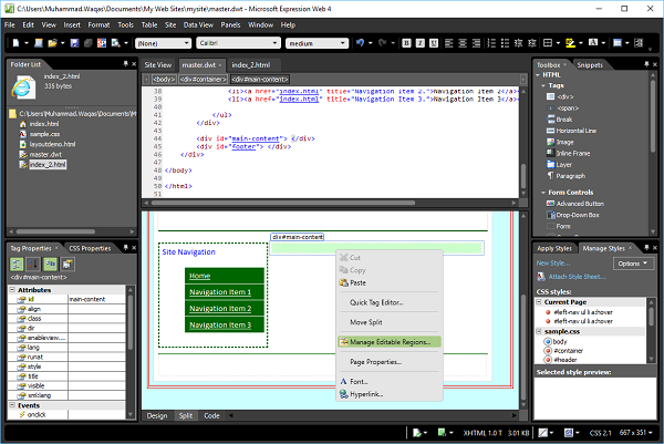 Microsoft Expression Web Dynamic Web Template - Dynamic web template