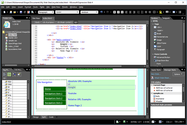 Microsoft Expression Web - Hyperlinks - Tutorialspoint
