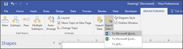 for example, when you export the data to excel, visio automatically opens  excel once you save the xml file  in excel, the data is organized into  topic