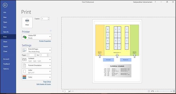 Microsoft Visio Printing Diagrams Tutorialspoint