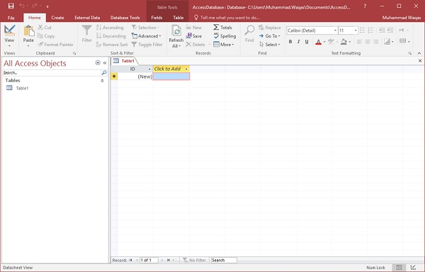 MS Access - Create Database