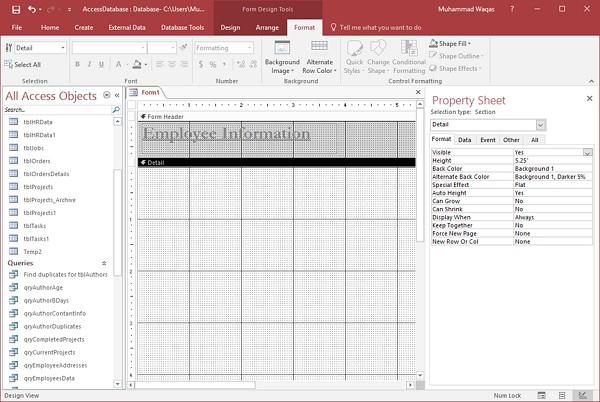 MS Access - Controls & Properties - Tutorialspoint