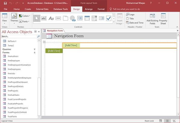 MS Access - Navigation Form - Tutorialspoint